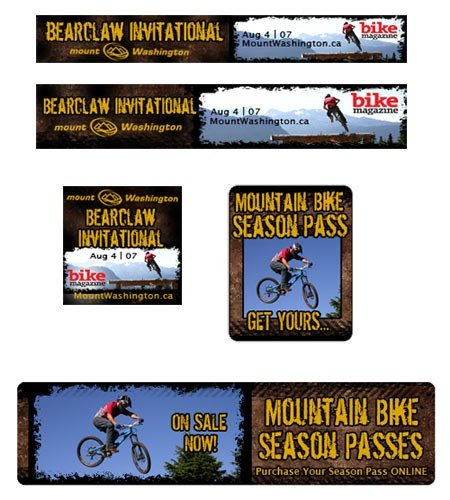 Mount Washington Alpine Resort Season Pass and Mountain Biking Banners